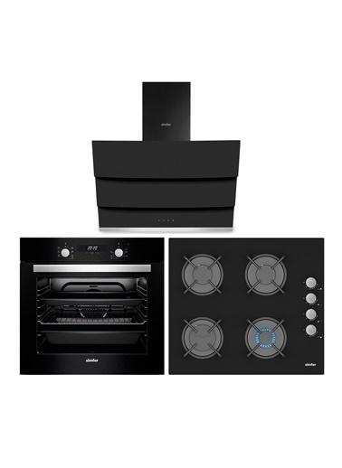 Simfer Siyah Dijital 3 lü Ankastre Cam Set (3500 - 8678 - 7327) Renkli
